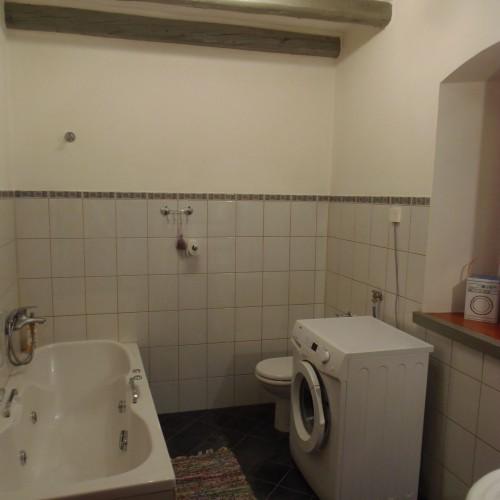 master bathroom with washing machine